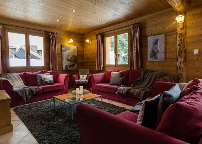 Catered chalet living area in Peisey-Vallandry