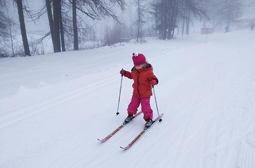 Skiing with children in Peisey-Vallandry